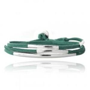 Green and Silver Wrap Bracelet
